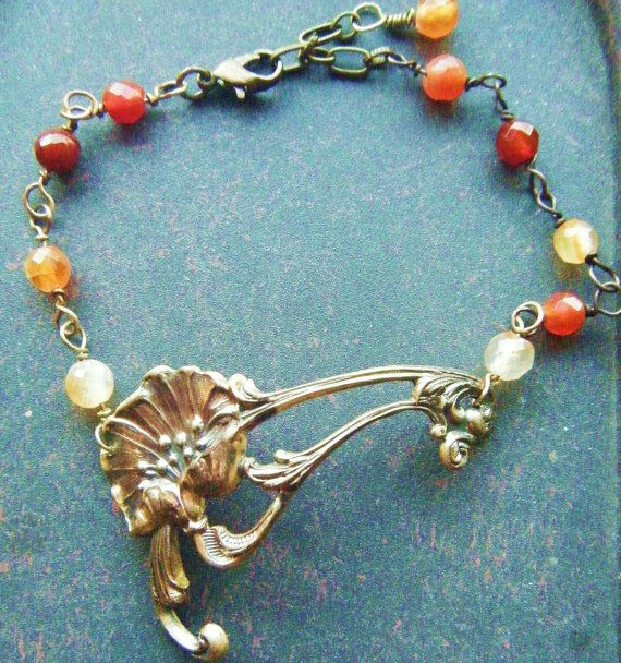 Poppy Bracelet Red Orange White Flower Romantic Tattoo by PhenomenaJewelry, $60.00.  art nouveau steampunk gift antique style heirloom quality