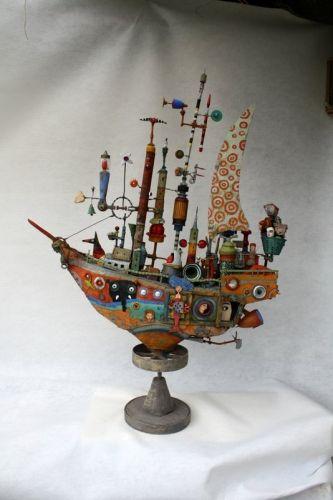 gérard collas ,bateau,assemblages ,sculpture Me rappelle les oeuvres de Maurice Savoie, céramiste québécois.