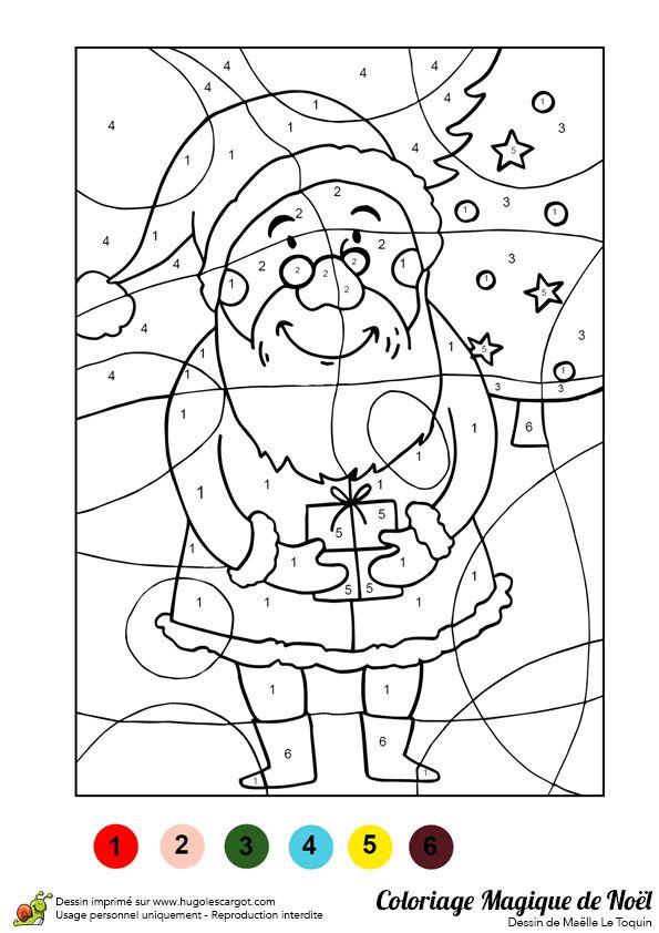 Dessin à colorier d'un père Noël et d'un cadeau - Hugolescargot.com