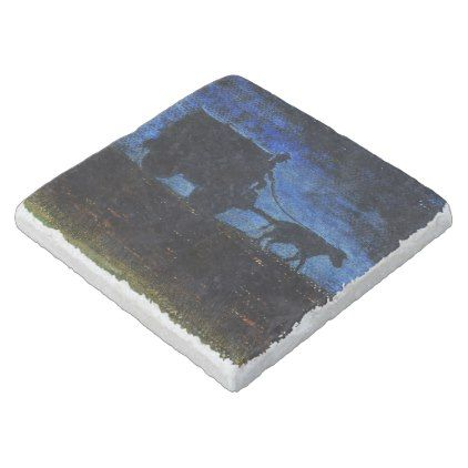 Carriage at dusk stone coaster - blue gifts style giftidea diy cyo