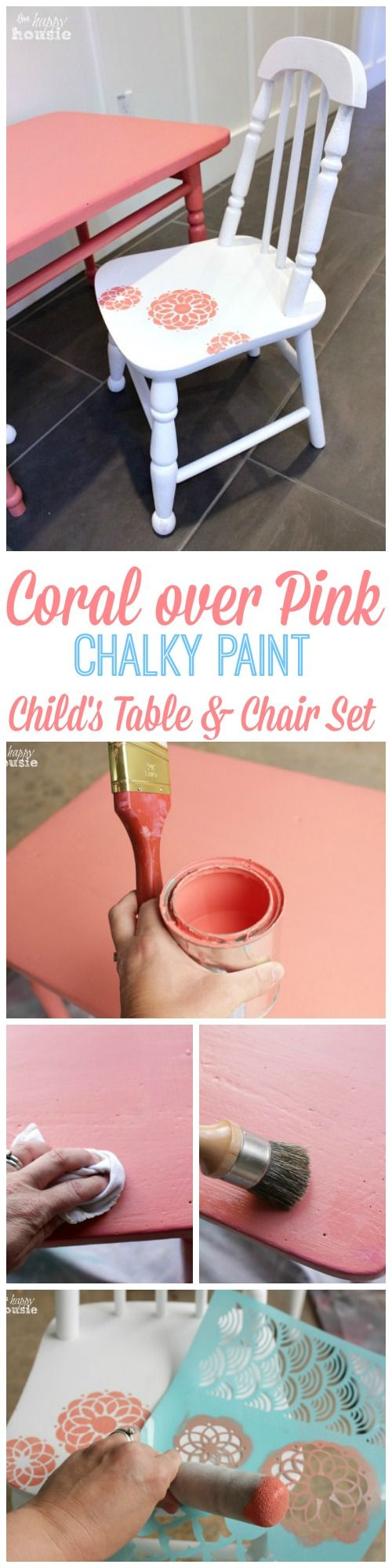 Coral over Pink Chalky Paint Child's Table and Chair Set How to at The Happy Housie