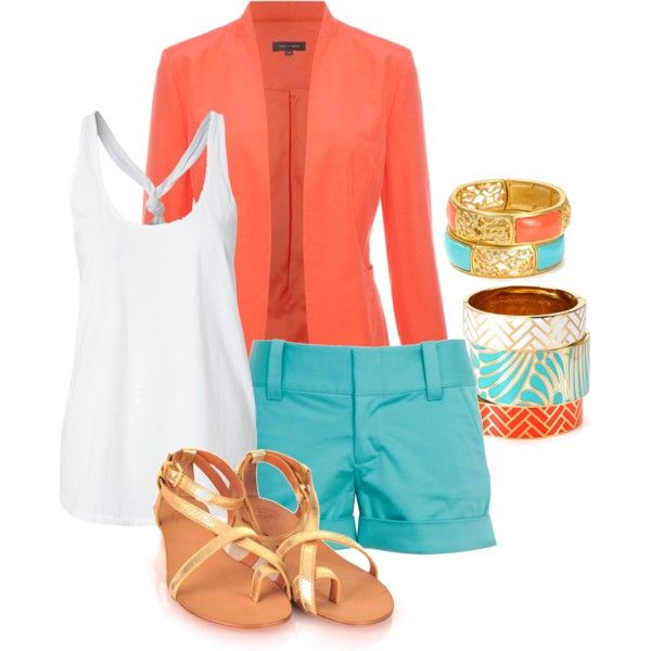A fashion look from April 2012 featuring denim tank, orange blazer and blue cotton shorts. Browse and shop related looks.