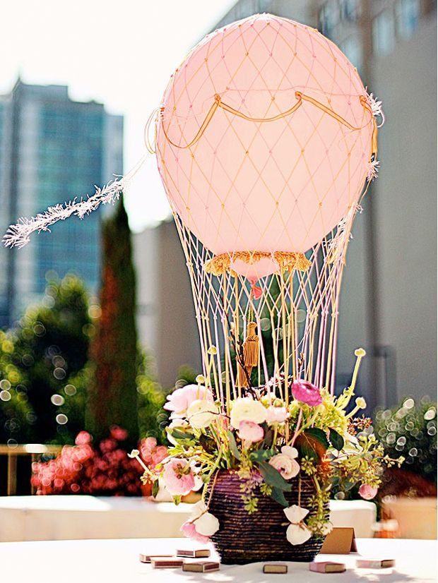 Hot air balloon centerpiece! So fun!