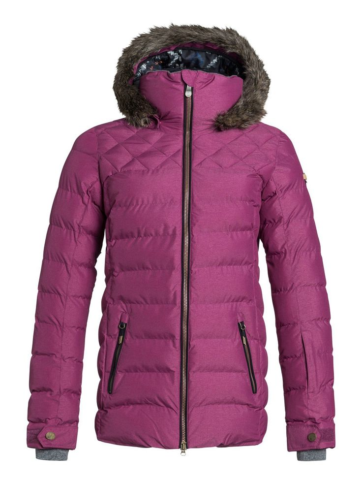 Roxy Womens Quinn Jacket, Magenta Purple, Medium. Critically taped seams. 3-way adjustable hood. Fixed hood. Fixed taffeta powder skirt. Jacket to pant attachment system. Chin guard. Snap-away powder skirt system. Media pocket. Internal goggle pocket. Internal lycra wrist gaiters. Key clip. Sleeve Pass Pocket. Mesh Lined Venting. Roxy Quinn Snow Jacket for Women. 2016 Model.