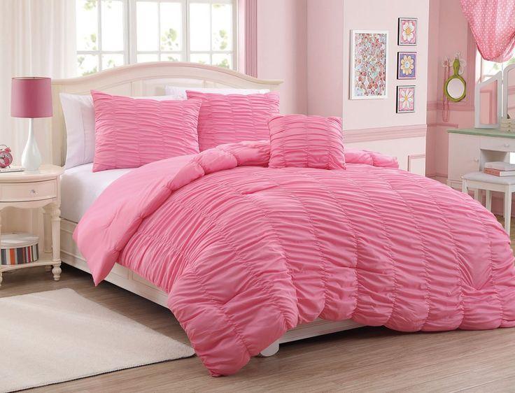 4-Piece Full Mandy Ruffle Comforter Set Pink