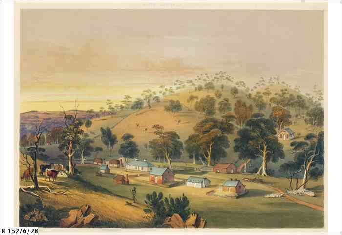 Plate 28: Landscape illustration of the small settlement at Angaston, created by J.W. Giles after G.F. Angas. Part of the text accompanying the illustration reads    The township of Angaston, at German Pass, is picturesquely situated at the head of a rocky glen, looking towards Greenock Hills, over which the setting sun throws a purple radiance, as it sinks behind their wooded summits.