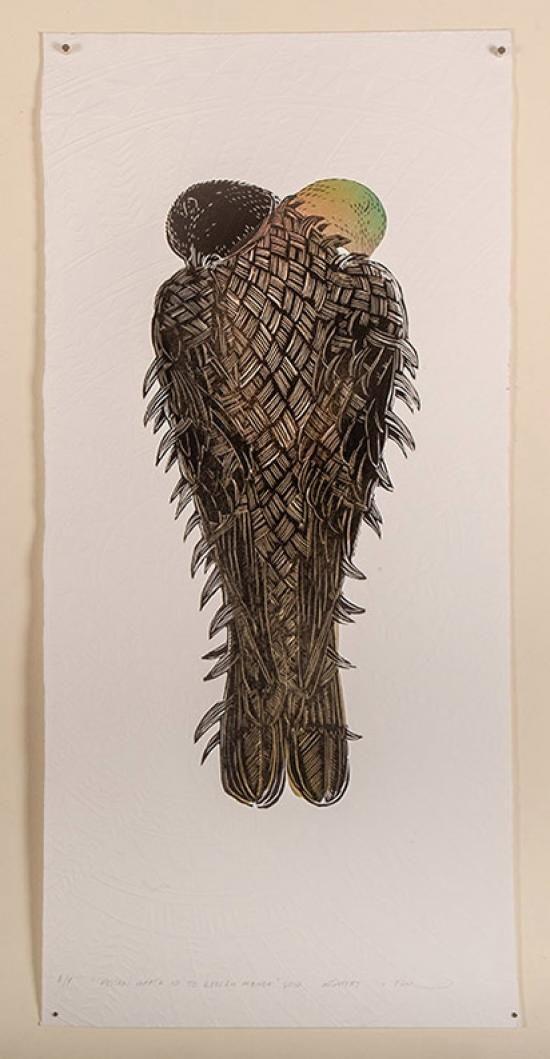 ARTIST A/P - KERERU DOUBLE HEAD UP | Emboss/Stencil/Woodcut Paper Dimensions: 600mm x 1000mm $1150 Unframed $1500 Framed | Flox.co.nz