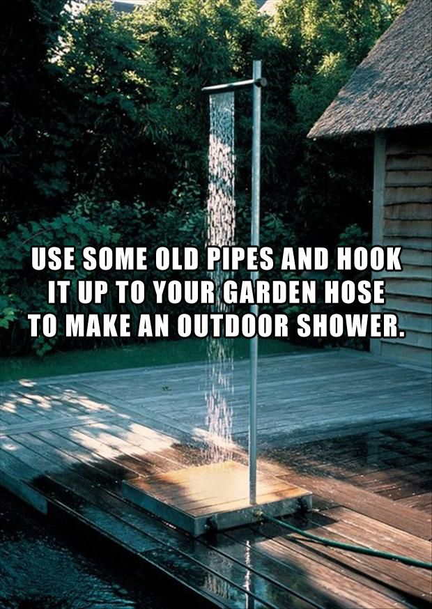 use some old pipes and a garden hose to create an outdoor shower no instructions on link