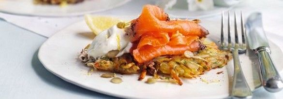 Potato and dill rostis with smoked salmon and horseradish