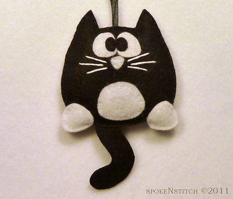 Smoking gato fieltro Navidad regaliz el gatito por SpokenStitch