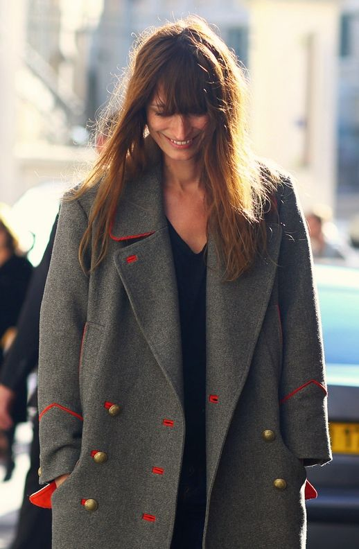 CAROLINE DE MAIGRET ISABEL MARANT DAVID GREY GRAY ORANGE LINED  MILITARY COAT PARIS STREET STYLE FRINGE BANGS FRENCH STYLE GET THE LOOK