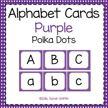 Purple polka dot alphabet letter flashcards. Letter assessments, writing centers, word work, name building activities, letter matching games, tutoring, parent resources, and more!