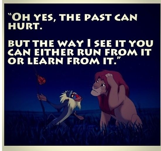 """The Lion King Quote - Rafiki - Simba - """"Oh yes, the past can hurt.  ...but the way I see it, you can either run from it or learn from it."""""""
