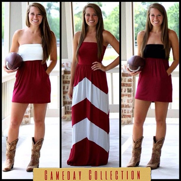H & O Gameday Collection!!! Get tailgate ready for this year's football season =}  #aggies #A #OU #gamecocks #USC #fortheloveoffootball #gamedayattire #footballseason #supportyourfavteam #teamcolors #bowbackdresses #maxidresses #straplessdresses #onlineboutique #freeshipping