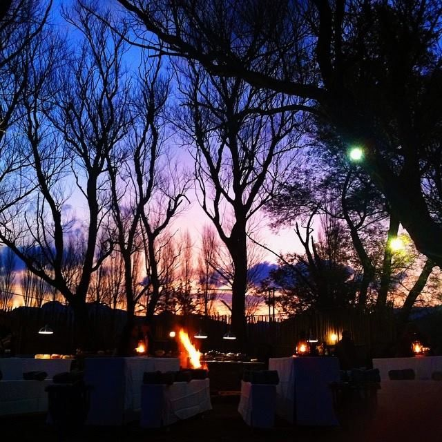 As the night settles on a perfect evening at Bushmans Nek Berg and Trout resort. We gather around the fire by the river for dinner under the stars #firstresorts #conference #2014