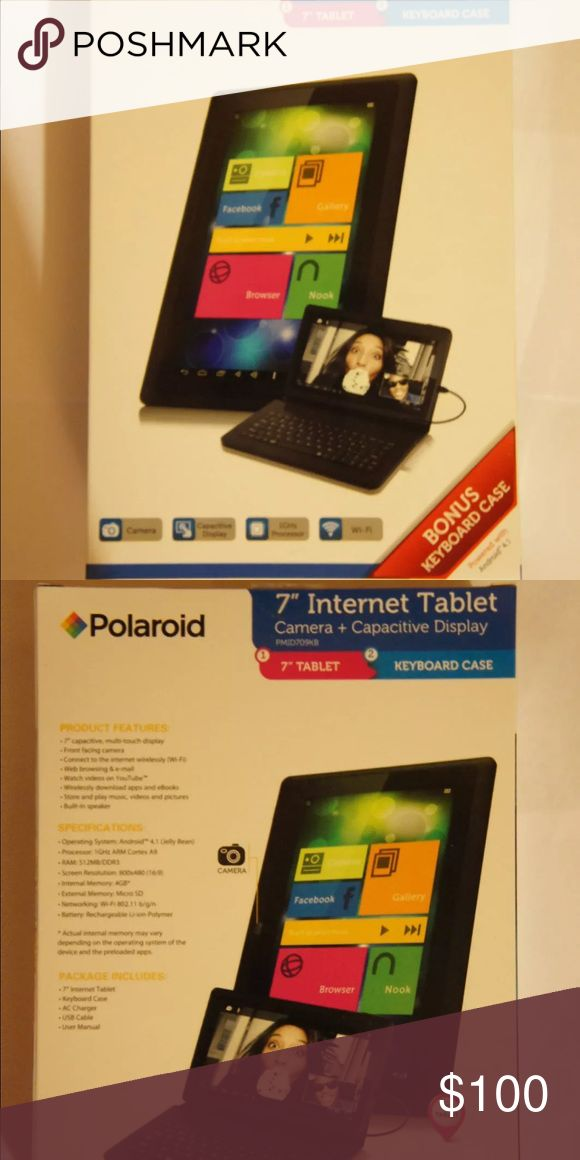 """Polaroid 7"""" Android Tablet With Keyboard Case Hello you will receive same item as seen in photo's 1 Polaroid PMID709KB 7"""" Android Jelly Bean Tablet With Keyboard Case; 7"""" Capacitive, Multi-Touch Display With Front Camera And Wi-Fi Android 4.0 Ice Cream Sandwich Packed With a USB Keyboard For All You Office Tasks Rechargeable Li-ion Polymer, Built-in Speaker, Expendable Memory Option Wirelessly Download Apps, Games And eBooks, Watch Videos on YouTube, Web Browsing & E-mail Polaroid   Great…"""
