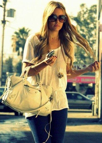 lauren conrad: White Tees, Lauren Conrad Sunglasses, Clothing, Laurenconrad, Fashion Inspiration, Conrad Style, Hair, Bags, Lauren Conrad Street Style