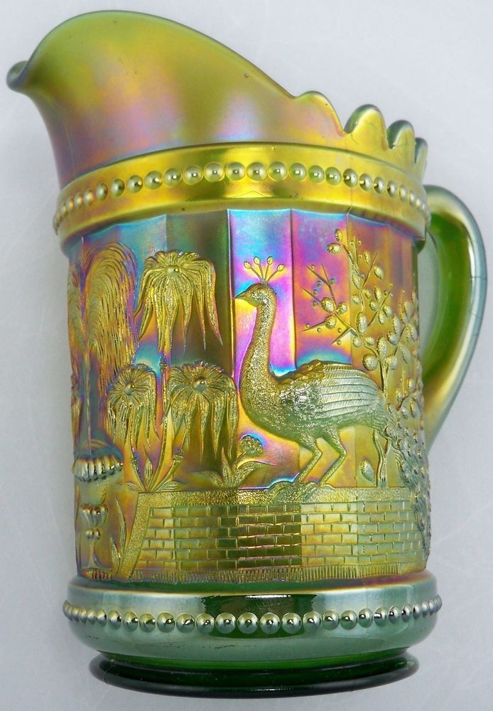 """Rare NORTHWOOD Carnival Glass GREEN """"PEACOCKS At The FOUNTAIN"""" Water Pitcher"""