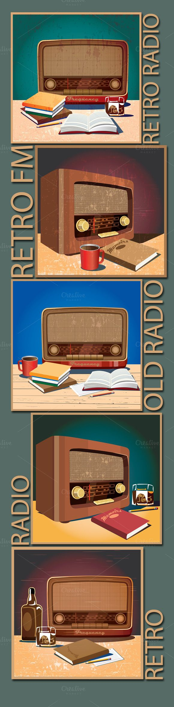 Retro Radio Set by Blacklight on Creative Market