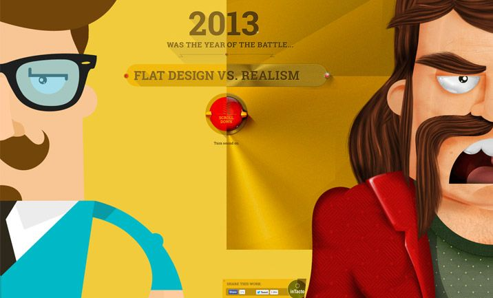 Website Of The Month January 2014 Flat VS Realism by inTacto http://www.cssdesignawards.com/sites/flat-vs-realism/24176/