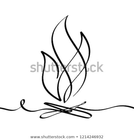Bonfire. Continuous line drawing. Fire outline icon on