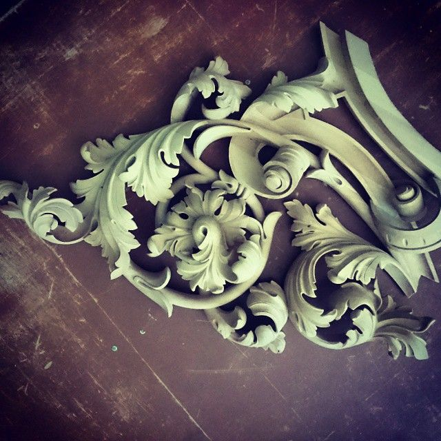 Scrolled leaf flower woodcarving architectural