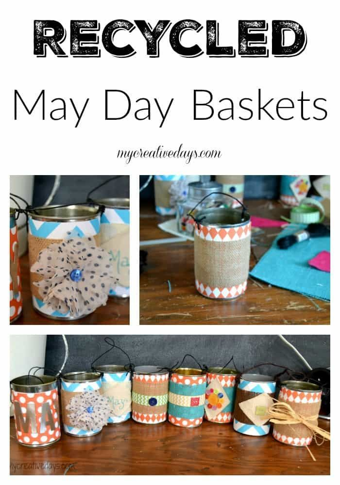 Learn how to make easy, repurposed DIY May Day Baskets from scrap craft supplies and items found in your recycling bin.