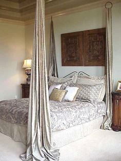Just 4 rings and fabric pieces to create the look of a four post bed.