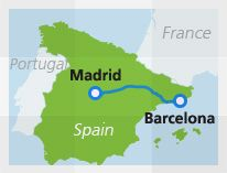 Map with train route Madrid Barcelona // High eed train takes 2 hour 45 min // mandatory seat reservations // Madrid Puerta de Atocha to Barelona Sants stations