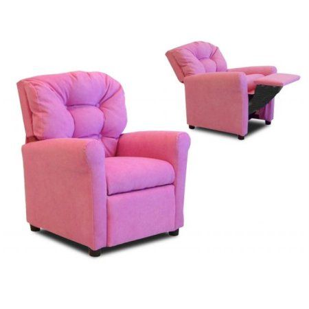 Dozydotes 10147 27'' x 22'' x 20'' Upholstered  Four Button Childrens Recliner Chair - Hot Pink