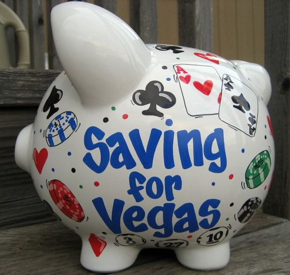 Vegas Fund Large Piggy Bank by jdavissquared on Etsy, $44.00
