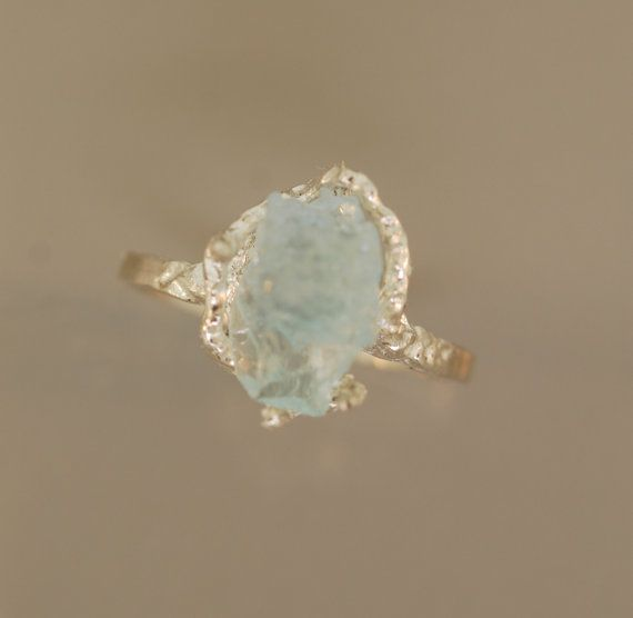 For Daniel Free form Aquamarine Ring, Raw  Aquamarine, Rough Stone Ring, Twig Ring,