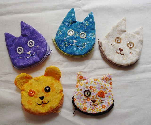 Cat and Bear Coin purses