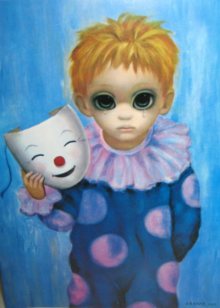 Happy Mask, Unhappy Boy (1963) - Margaret Keane. Fine Art Giclee Print on Canvas (Hand-Signed by Margaret). 25-1/2 x 20 in. (65 x 50.8 cm) | KEANE EYES GALLERY