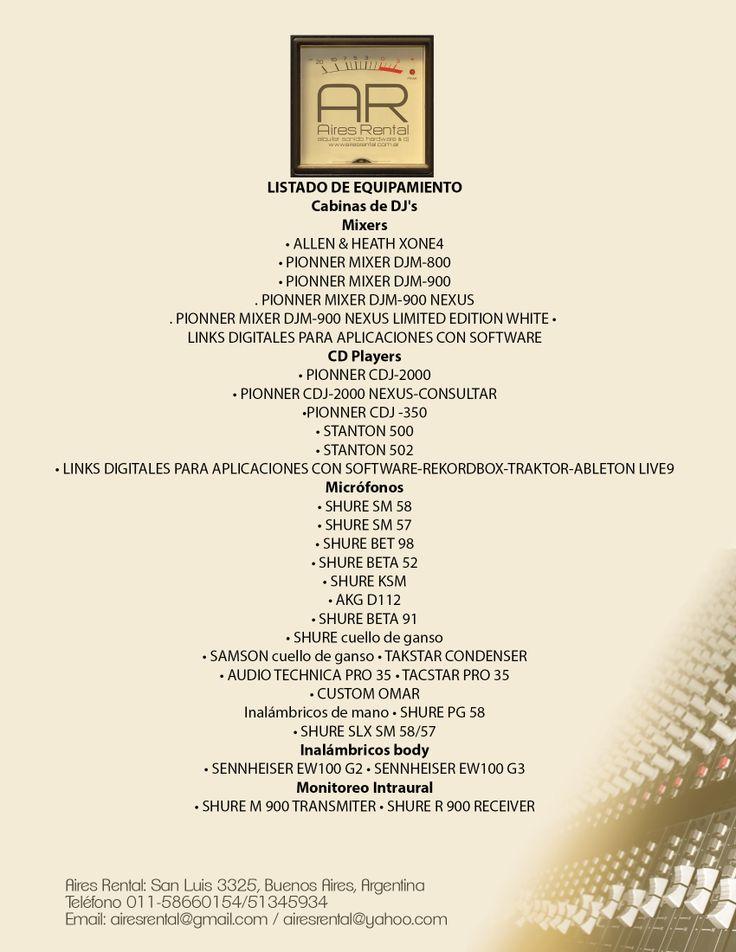 TODO PARA EL DJ PROFESIONAL.CABINAS COMPLETAS-ENVIE SU RIDER TECNICO MICROFONOS Y MUCHO MAS EN AIRES RENTAL-NO DUDE EN CONSULTARNOS airesrental@gmail.com
