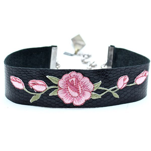 Wild Rose Leather Choker ($88) ❤ liked on Polyvore featuring jewelry, necklaces, accessories, chokers, black, pink, leather pendant necklace, pink pendant necklace, adjustable leather necklace and long pendant necklace