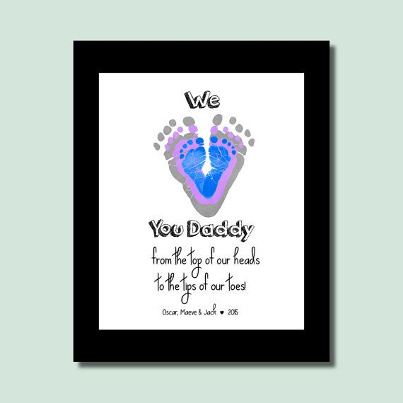 Gift For Dad From Kids Daddy Son And Daughter Personalized Birthday Children Baby Footprint Art