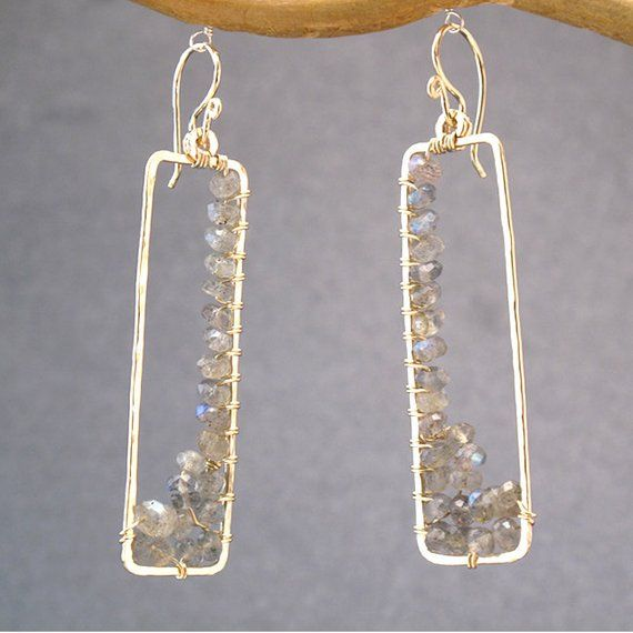 Hammered rectangles with choice of stone Bohemian 80