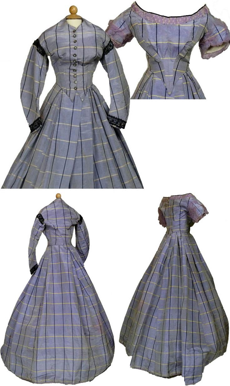 Lilac tartan moiré taffeta gown with matching day & evening bodices, ca. 1860. Day bodice has button center front closure and black braid trim around shoulders and cuffs. It is cut low and high at the back with curved sleeves. Evening bodice has pronounced point at waist, puffed sleeves, and silk & lace at neckline. Very full, pleated skirt. Sarah Elizabeth Gallery/ebay