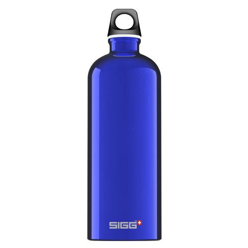 Sigg Water Bottle - Traveller Dark Blue - 1 Liter - The modern classic SIGG reusable water bottle – a perfect blend of functionality and design. The SIGG Traveler Water Bottle delivers all the benefits of a lightweight, durable, eco-friendly, leak-proof water bottle in a sophisticated style! This reusable aluminum water bottle is coated with a dark blue non-toxic paint and comes with our standard SIGG Black Screw Top, but may be outfitted with any SIGG bottle top. Made in Switzerland, the…