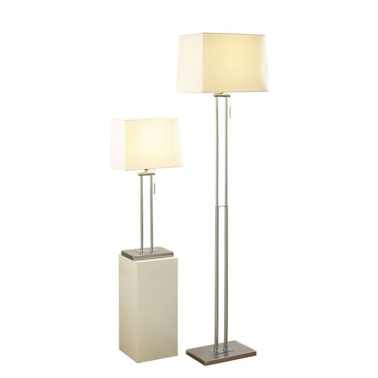 Modern standard floor and table lamp set satin chrome finish cream shade lights