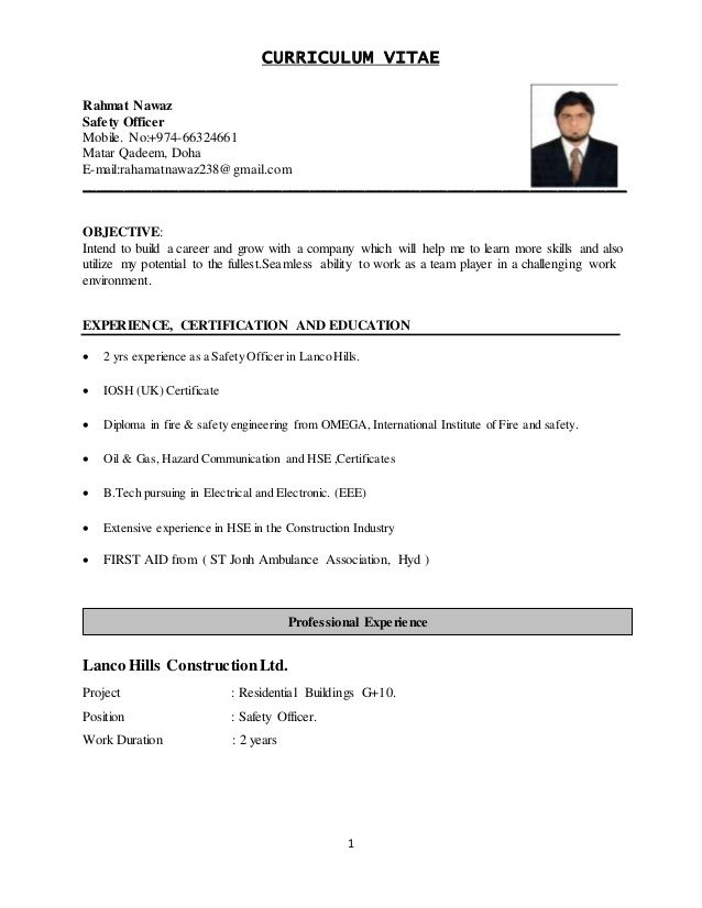 image result for safety officer resume