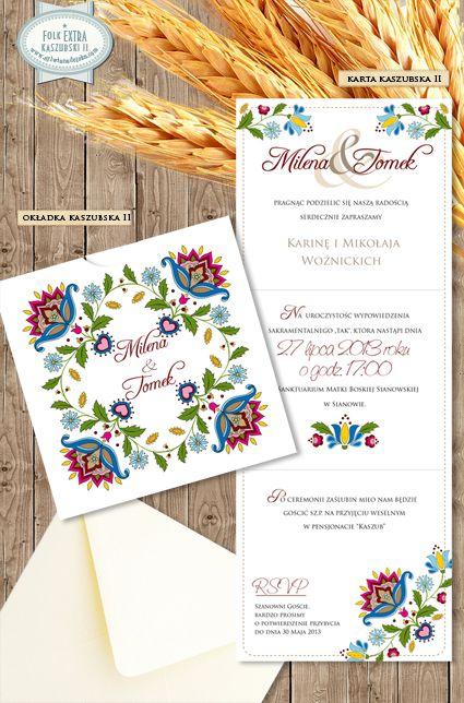 """Zaproszenia Ślubne """"FOLK EXTRA WZÓR KASZUBSKI II"""" Oryginalne, ręcznie wykonane zaproszenia z motywem ludowym.  /// #sylwianadolska #zaproszeniaslubne #zaproszenianaslub #zaproszenia #slub #wesele #wedding #lawenda #słonecznik #vintage #winietki #papeteria #dodatkislubne #zaproszenia http://www.sylwianadolska.com"""