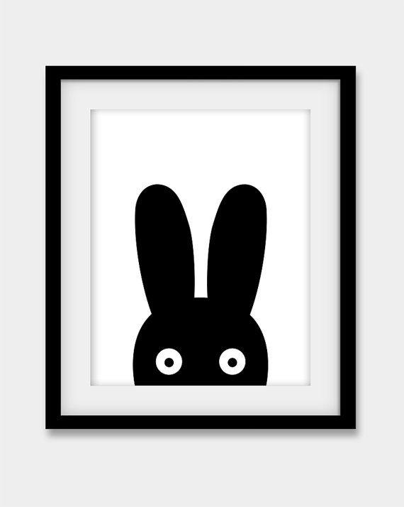 50 % de réduction Bunny imprimer, Bunny noir pépinière Print, pépinière Wall Art, imprimé à gros caractères 16 x 20 po, bébé chambre sticker, Poster Bunny, lapin noir imprimé