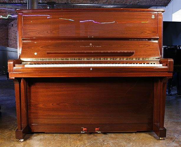 Steinway Model K upright Piano for sale with a mahogany case.