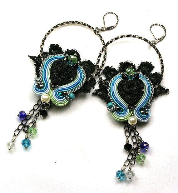 Soutache braid earrings spring   High Fashion by SoutacheOOAK