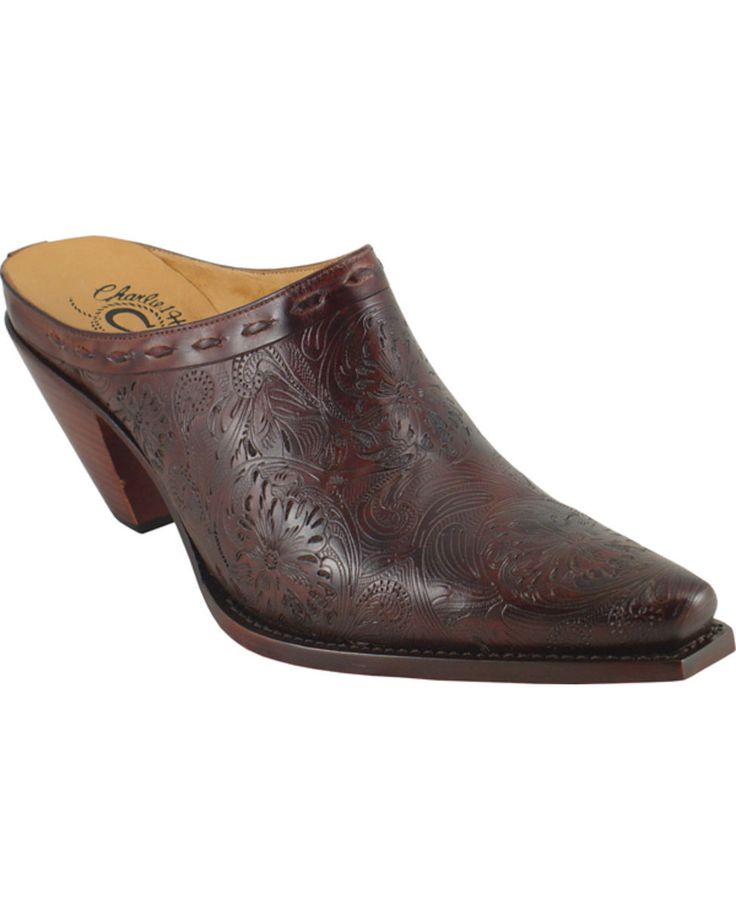 Lucchese Women's Red and Brown Tooled 5 Toe Shoe>love this as much as the black!