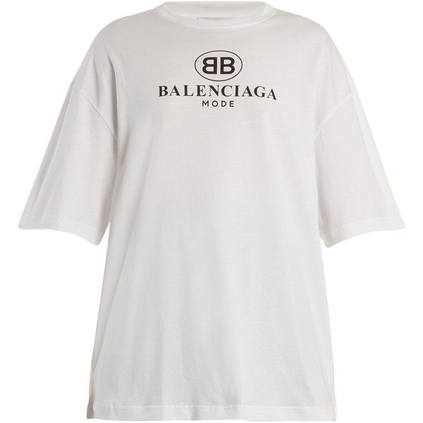 Balenciaga Logo-print dropped-shoulder cotton T-shirt ($480) ❤ liked on Polyvore featuring tops, t-shirts, white, loose fit t shirts, oversized t shirt, oversized tees, cotton t shirts and loose fitting t shirts