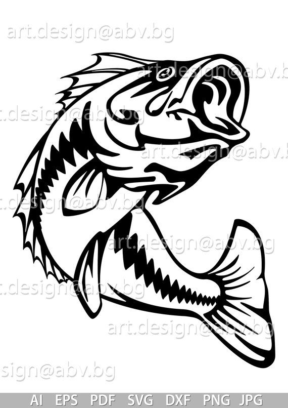 Vector Fish Largemouth Bass Ai Eps Pdf Png Svg Dxf Jpg Image Graphic Digital Download Artwork Graphical Discount Coupons In 2020 Fish Drawings Fishing Svg Silhouette Stencil