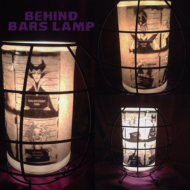 Up cycled wicker lamp. Now it's a Disney Villains Behind Bars lamp. #upcycle #disneyvillains #disney #gothiclamp #gothic #diy #lamp